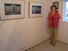 BeAN Art Exhibition - Jennifer Phillips standing by her art