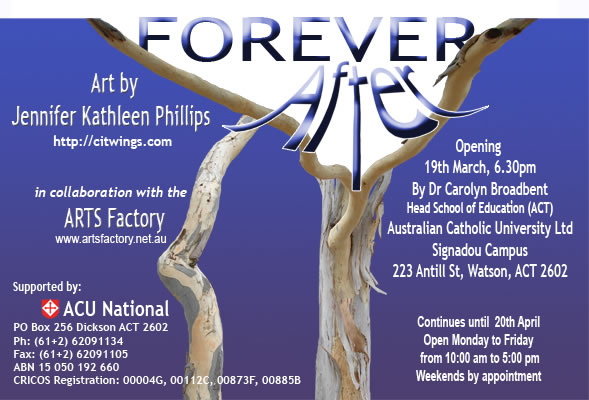 Invitation to a solo Exhibition called Forever After by Jennifer Phillips in the Australian Cathlolic University Signadou gallery.