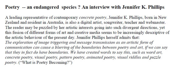 Aprilia Zank comment about Jennifer Phillips' concrete poetry