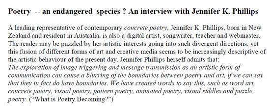 Aprilia Zank comment about Jennifer Phillips' concrete poetry
