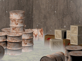 3dsMax crates and barrels with fog